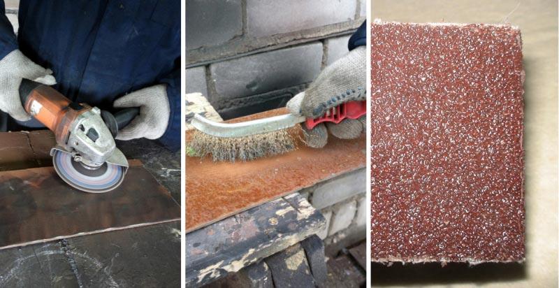 Для механической очистки можно использовать дрель или болгарку со специальными щетками, ручную металлическую щетку, а также обыкновенную наждачную бумагу